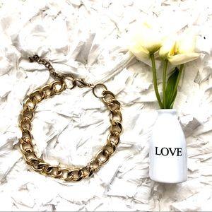 Gold Tone Chunky Chain Link Necklace w Rhinestone